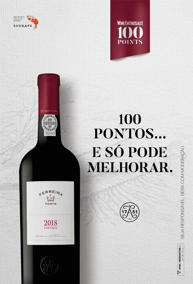Wine Enthusiast atribui 100 pontos a Porto Ferreira Vintage 2018